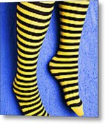 Two Legs Against Blue Wall Metal Print by Garry Gay