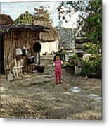 Two Little Girls At Home Metal Print