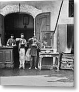Two Men With Plates Of Long Spaghetti Metal Print