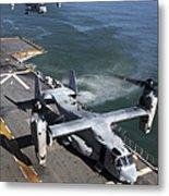Two Mv-22 Ospreys Land On The Flight Metal Print