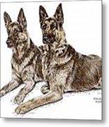 Two Of A Kind - German Shepherd Dogs Print Color Tinted Metal Print