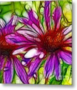 Two Purple Daisy's Fractal Metal Print