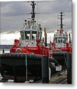 Two Red Tugs Metal Print