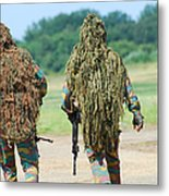 Two Snipers Of The Belgian Army Dressed Metal Print
