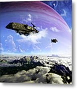 Two Spacecraft Prepare To Depart Metal Print