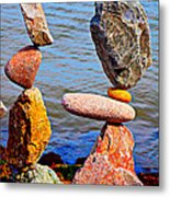 Two Stacks Of Balanced Rocks Metal Print