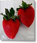 Two Strawberries On A Glass Plate Metal Print