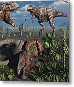 Two T. Rex Dinosaurs Confront Each Metal Print by Mark Stevenson