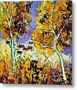 Two Trees In Fall Metal Print