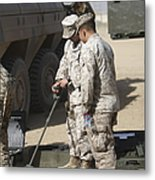 Two U.s. Marines Use A Mine Detector Metal Print