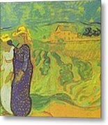 Two Women Crossing The Fields Metal Print