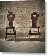 Two Wooden Chairs Metal Print