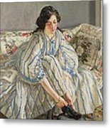 Tying Her Shoe Metal Print by Sir Walter Russell