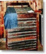 Type Case With Denim Apron Metal Print