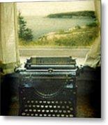 Typewriter By Window Metal Print