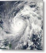 Typhoon Sanba Over The Pacific Ocean Metal Print