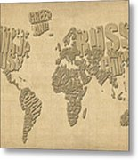 Typographic Text Map Of The World Metal Print