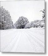 Tyre Tracks In The Snow Metal Print