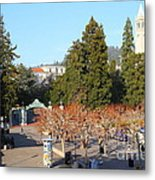 Uc Berkeley . Sproul Plaza . Sather Gate And Sather Tower Campanile . 7d10000 Metal Print