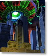 Ufo Over City Metal Print