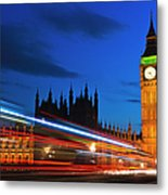 Uk, England, London, Big Ben And Light Trails At Night Metal Print