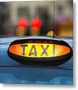 Uk, England, London, Sign On Taxi Cab Metal Print