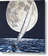 Under Full Sail..under Full Moon Metal Print by Jack Skinner