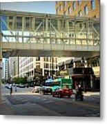 Under The Skywalk - Street Lamp Metal Print