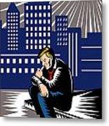 Unemployed Male Worker Sidewalk Metal Print by Aloysius Patrimonio