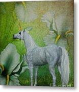 Unicorn And Lilies Metal Print