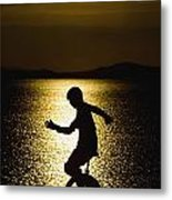 Unicycling Silhouette Metal Print