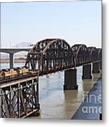 Union Pacific Locomotive Trains Riding Atop The Old Benicia-martinez Train Bridge . 5d18849 Metal Print