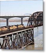 Union Pacific Locomotive Trains Riding Atop The Old Benicia-martinez Train Bridge . 5d18850 Metal Print