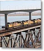 Union Pacific Locomotive Trains Riding Atop The Old Benicia-martinez Train Bridge . 5d18851 Metal Print
