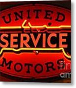 United Motors Service Neon Sign Metal Print