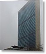 United Nations In Fog Metal Print