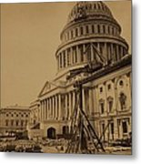 United States Capitol Building In 1863 Metal Print by Everett