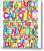 United States Usa Text Bus Blind Metal Print