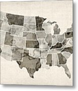 United States Watercolor Map Metal Print