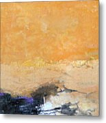 Untitled Abstract - Amber Peach  With Violet Metal Print