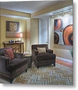 Upscale Living Room Interior Metal Print by Andersen Ross