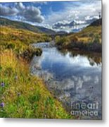 Upstream To The Bridge Metal Print