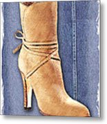 Urban Cowgirl Suede Boots Metal Print