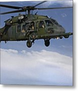 U.s. Air Force Hh-60 Pave Hawks Conduct Metal Print