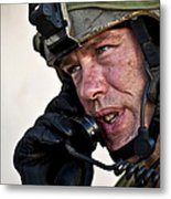 U.s. Air Force Sergeant Calls Metal Print