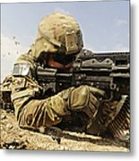 U.s. Air Force Soldier Fires The Mk48 Metal Print