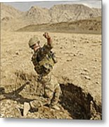 U.s. Air Force Soldier Throws A Frag Metal Print