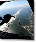 U.s. Airmen Jump Out Of A C-130 Metal Print