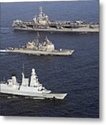 U.s. And French Navy Ships Transit Metal Print