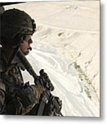 U.s. Army Captain Looks Out The Door Metal Print